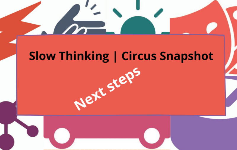 A colourful image featuring a variety of symbols and with the words Slow Thinking | Circus Snapshot next steps running across the middle